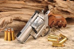 SRH Alaskan - Hard Chrome, Small Wonder Gold Bead front sight, Jewelled Hammer and Trigger, BCA rear, Bolivian Rosewood Grips
